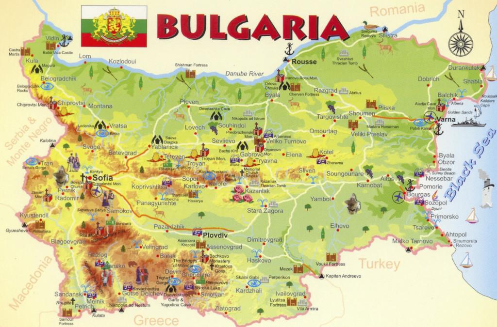 карта Болгарии туристическая