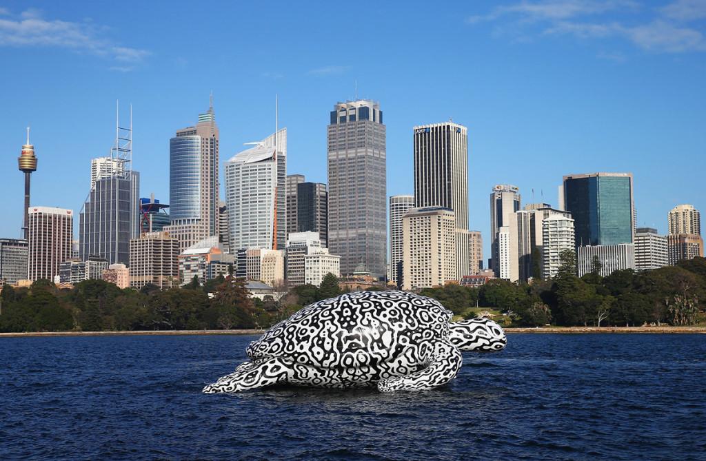 Gigantic Sea Turtle Sculpture Floats Past Sydney Harbour Bridge and Sydney Opera House